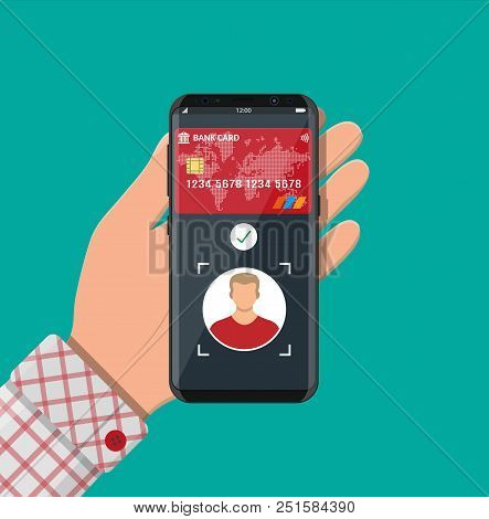Smartphone With Payment App Using Face Recognition And Identification In Hand. Biometric Identificat