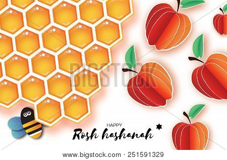 jewish new year rosh hashanah greeting card origami apple with honey gold cell and honey bee in paper cut style happy holiday in hebrew