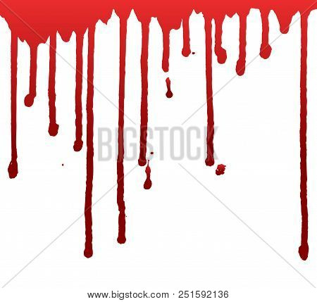 Dripping Blood  Or Paint Isolated On White Background. Halloween Concept, Ink Splatter Illustration.