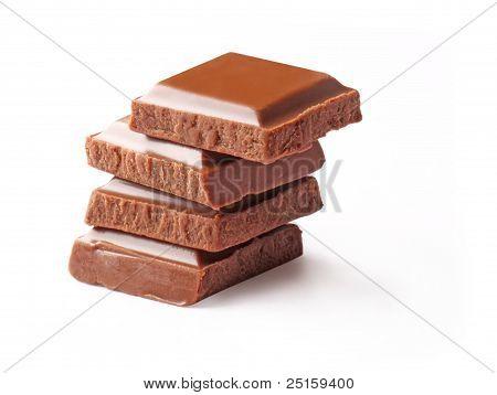 Chocolate Blocks White Background