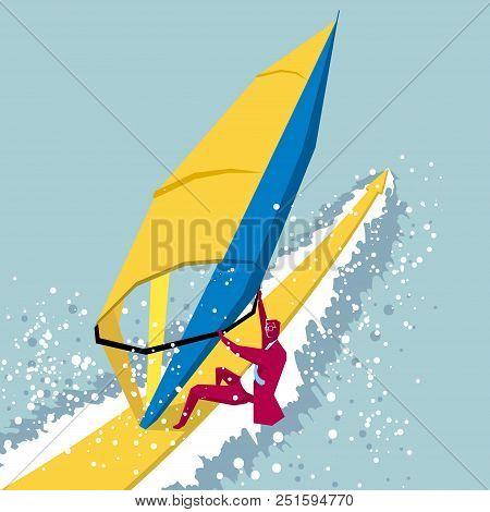 Sailing Design, A Businessman Participates In Sailing On The Sea.