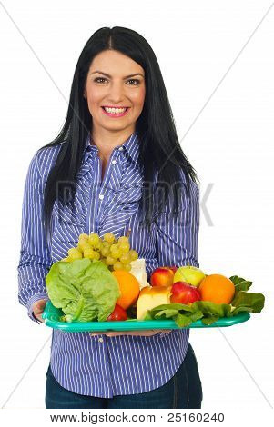 Happy Woman With Healthy Food