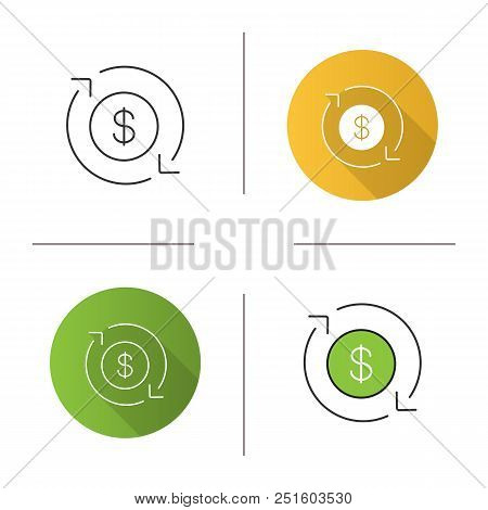Dollar Currency Exchange Icon. Refund. Circle Arrow With Dollar Sign Inside. Flat Design, Linear And