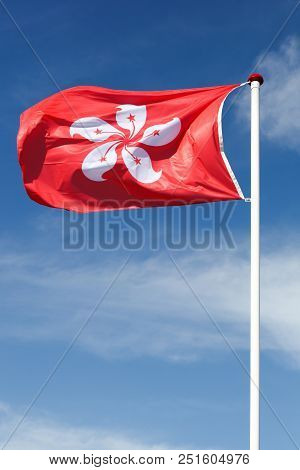 Flag Of Hong Kong Waving In The Sky