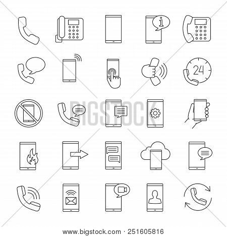 Phone Communication Linear Icons Set. Smartphone Calls, Messages, Hotline, Mobile Cloud Computing. T