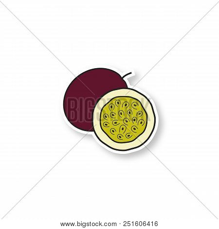 Passionfruit Patch. Color Sticker. Vector Isolated Illustration