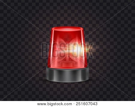 Vector Illustration Of Red Flasher, Flashing Beacon With Siren For Police And Ambulance Cars, Isolat