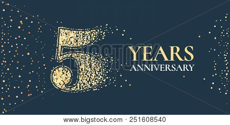 5 Years Anniversary Celebration Vector Icon, Logo. Template Horizontal Design Element With Golden Gl