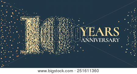 10 Years Anniversary Celebration Vector Icon, Logo. Template Horizontal Design Element With Golden G