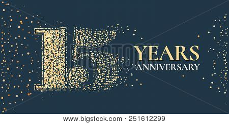 15 Years Anniversary Celebration Vector Icon, Logo. Template Horizontal Design Element With Golden G