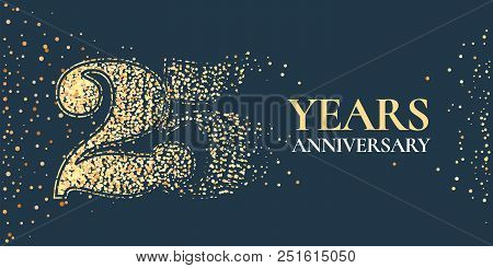25 Years Anniversary Celebration Vector Icon, Logo. Template Horizontal Design Element With Golden G