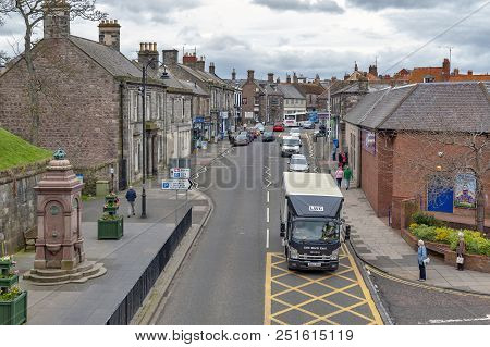 Berwick-upon-tweed, England - April 2018: High Street In Town Center Of Berwick-upon-tweed, Northern