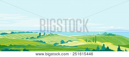 Big Panorama Of Agricultural Fields, Hills And Meadows Near The Sea Coast, Summer Countryside With G