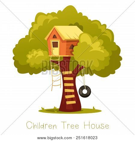 Wooden Kid House On Tree. Children Hut On Plant With Ladder And Swing As Tyre Or Tire, Wheel. Oak Wi