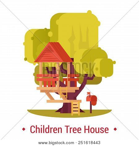Wooden hut on tree for children activity. Tree-house with ladder and mailbox or postbox for kids. Home for kinder or small, little playhouse for summer recreation or leisure at forest or yard poster