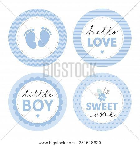 Cute Baby Shower Vector Sticker. Round Tags, Blue Color. Baby Feet In A Circle With Chevron. Little