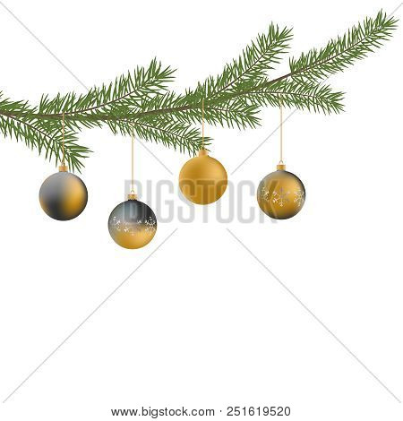 Realistic Vector Christmas Tree Branch And Balls. Pine Tree Branch With Christmas Balls. Gray And Go