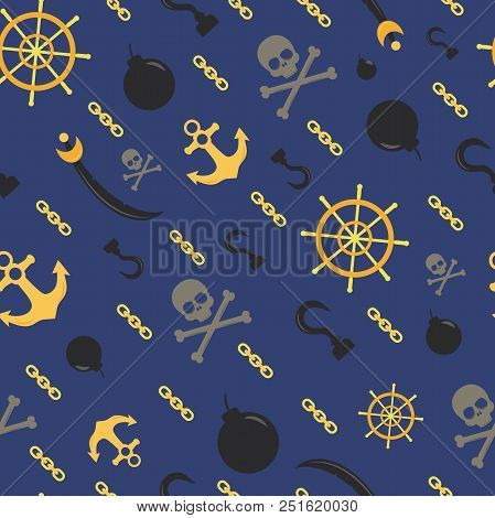 Seamless Pirate Theme Pattern, Vector Background With Skulls, Anchors, Chains, Bombs And Helms. Cont