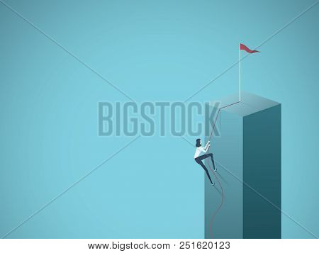 Business Goal, Objective, Target Vector Concept With Businesswoman Climbing A Cliff On A Rope. Symbo