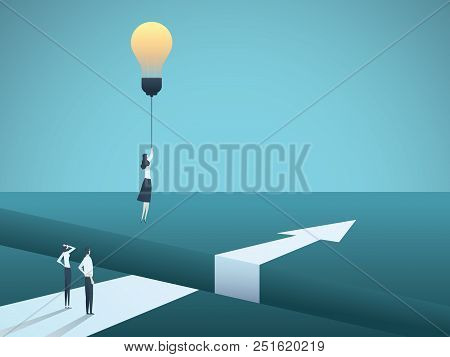 Business Creativity Vector Concept With Woman Flying With Lightbulb. Symbol Of Creative Solution, Br
