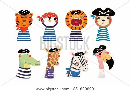 Set Of Cute Funny Little Animals Pirates Lion, Tiger, Zebra, Flamingo, Penguin, Sloth, Giraffe, Croc
