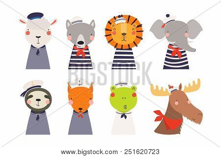 Set Of Cute Funny Little Animals Sailors Lion, Sheep, Wolf, Frog, Moose, Squirrel, Elephant, Sloth.
