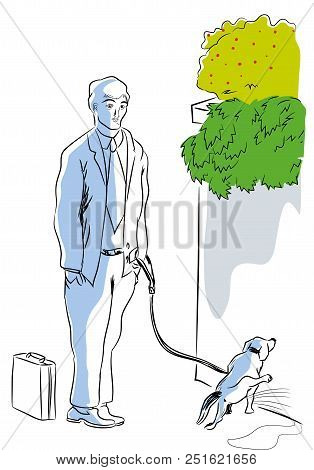 Dog And Owner.  Businessman Waiting For Her Dog Peeing.