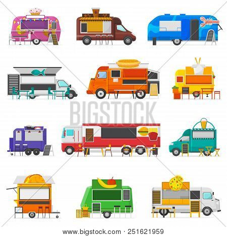 Food Truck Vector Street Food-truck Vehicle And Fastfood Delivery Transport With Hotdog Or Doughnut