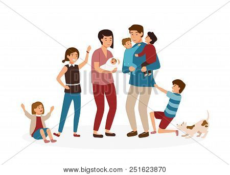 Big Family With Many Children. Stressed And Tired Parents Or Exhausted Mom And Dad And Nasty Kids Is