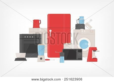 Pile of kitchen utensils, household appliances, cooking facilities, electric tools and equipment for food preparation isolated on white background. Colorful vector illustration in flat cartoon style poster
