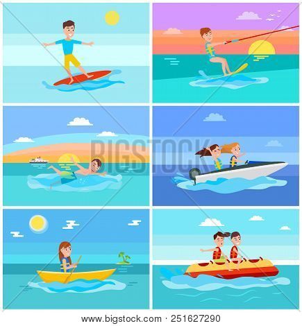 Summertime Activities Set With Seascape, Surfer And Kitesurfing, Swimming And Boating, Banana Boat I