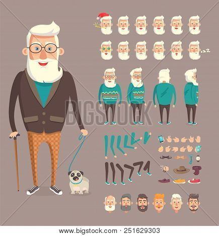 Grandfather Collection Builder, Emotion Set With Sleepy Head Wearing Santa Claus Hat, Granddad Walki