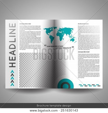 Corporate Bi-fold Brochure Template Design. Annual Report, Presentation, Book Cover Or Flyer.