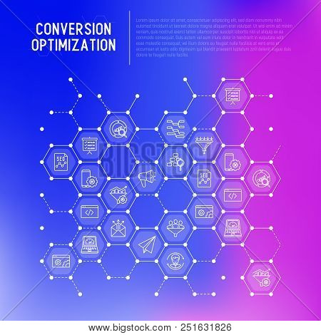 Conversion Optimization Concept In Honeycombs With Thin Line Icons: Marketing, Customer Management,