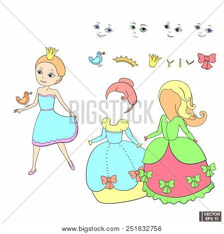Vector Illustration. Cute Dress Up Princess Little Girl Template Outfit And Accessories Dress Up Pac