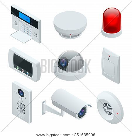 Isometric Alarm System Home. Home Security. Security Alarm Keypad With Person Arming The System. Acc