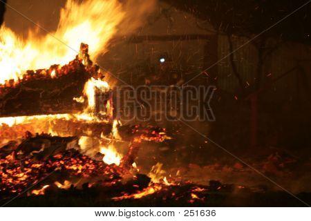 Faint View Of Fireman In Fire