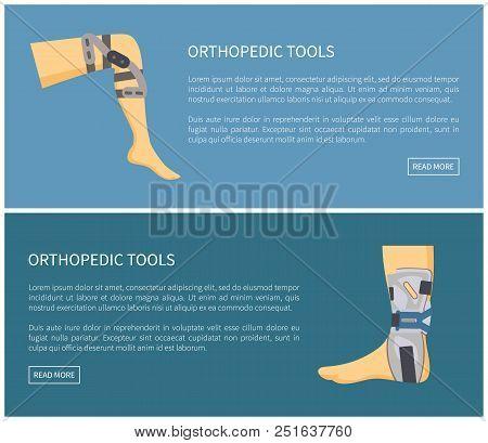 Orthopedic Tools Fixators Set Colorful Poster Vector Illustration Isolated On Blue Human Leg In Medi