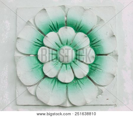Green Flower Stone Carving For Background And Texture .