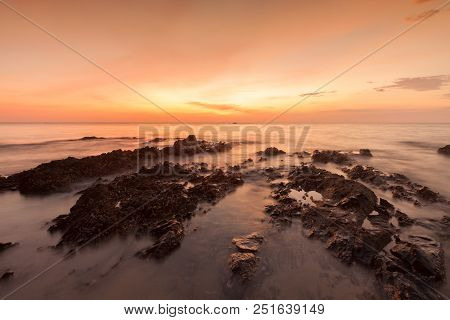Long Exposure Landscape On The Sea ,thailand