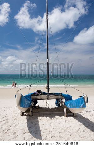 Catamaran On The White Sands Beach , Thailand