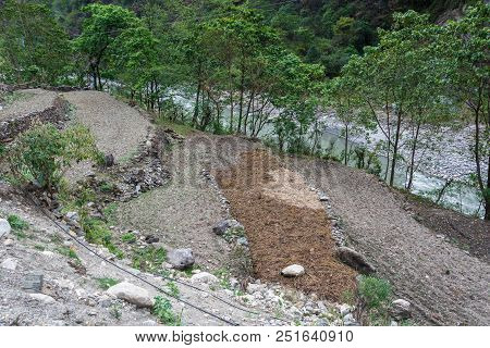 Small Plots For Planting Agricultural Products On The Bank Of The Mountain River, Nepal.