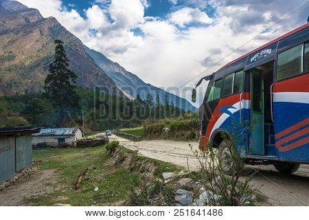 Track Around Annapurna, Nepal-09.04.2018: Bus Stop On Mountain Road 9 April 2018 Track Around Annapu