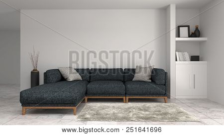 Modern Sofa White Cabinet In Empty Room Interior Background Home Designs 3d Illustration ,shelves An