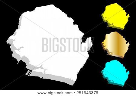 3d Map Of Sierra Leone (republic Of Sierra Leone) -  White, Yellow, Blue And Gold - Vector Illustrat