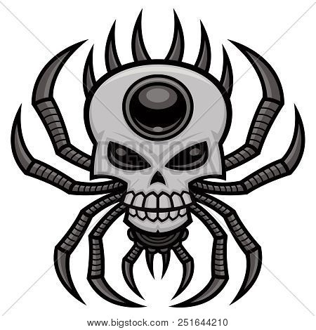 Skull Spider. Vector Cartoon Illustration Of A Pointy Clawed Spiny Orb-weaver Spider With A Mean Sku