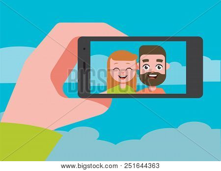 Couple Taking Selfie Photo. Selfie Concept. Cartoon Design. Vector Stock.