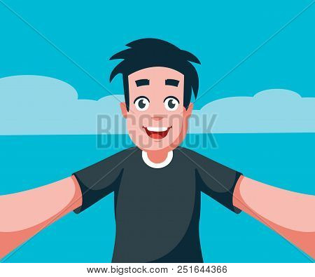 Man Taking A Selfie Photo. Selfie Concept. Cartoon Design. Vector Stock.