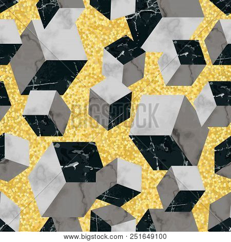Vector Seamless Pattern With Marble Cubes And Golden Glitter. White And Black Marbling Surface, Mode
