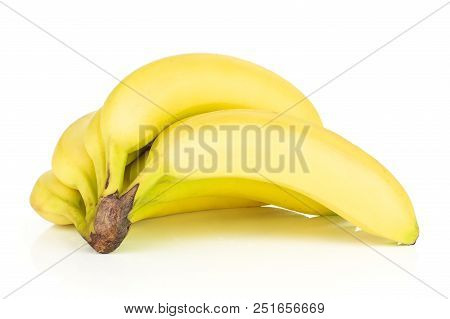 Group Of Eight Whole Fresh Yellow Banana One Cluster Isolated On White Background